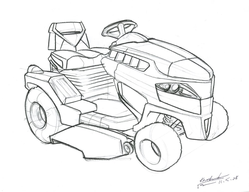 Free coloring pages of riding lawn mower
