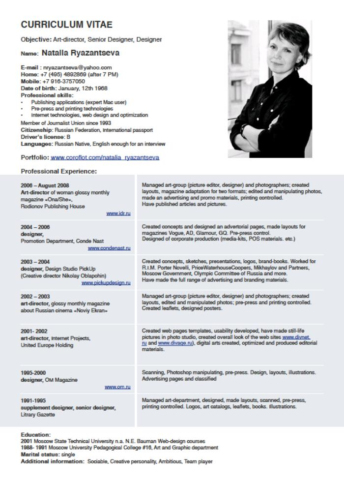sample resume of a person who knows russian and english