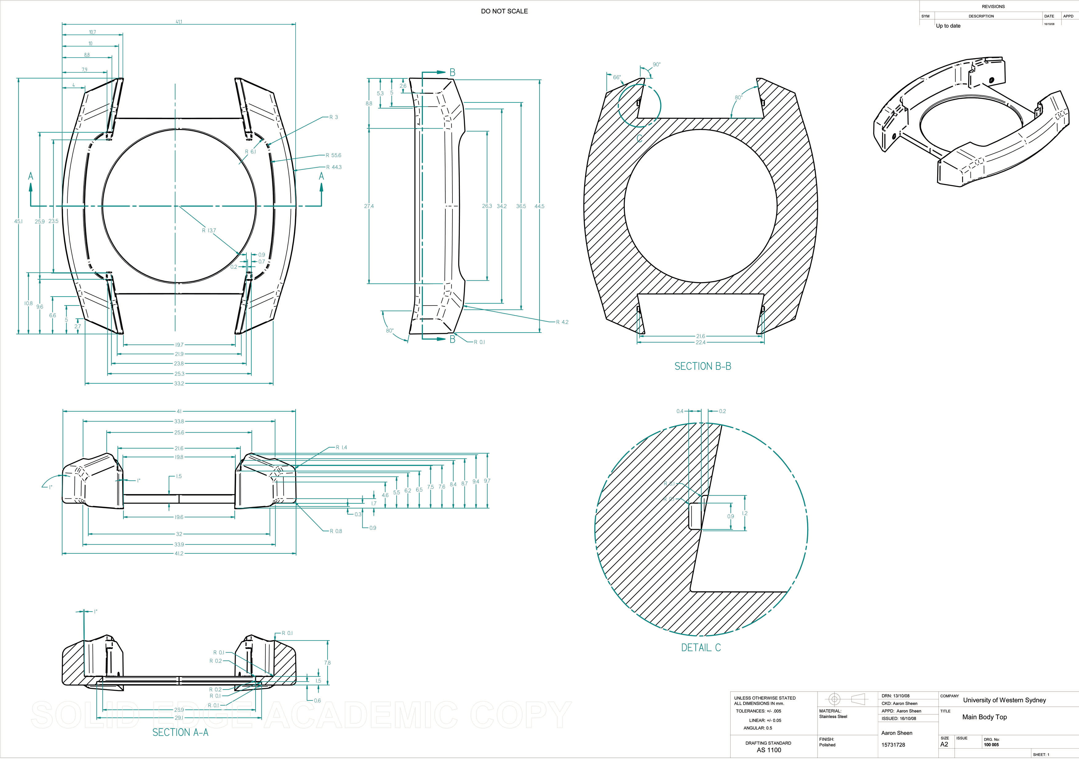 Engineering drawing examples by Aaron Sheen at Coroflot.com