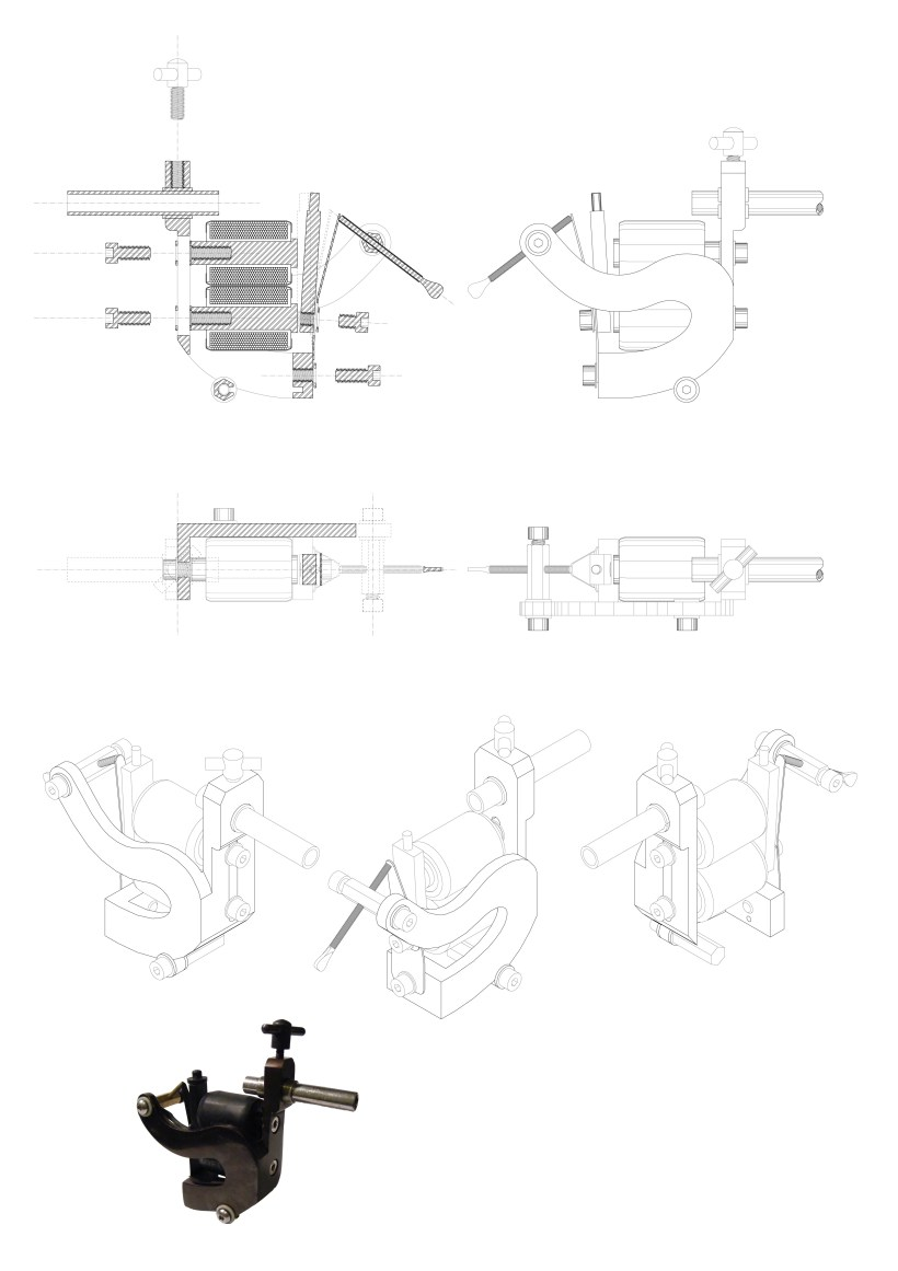 tattoo machine frame dimensions