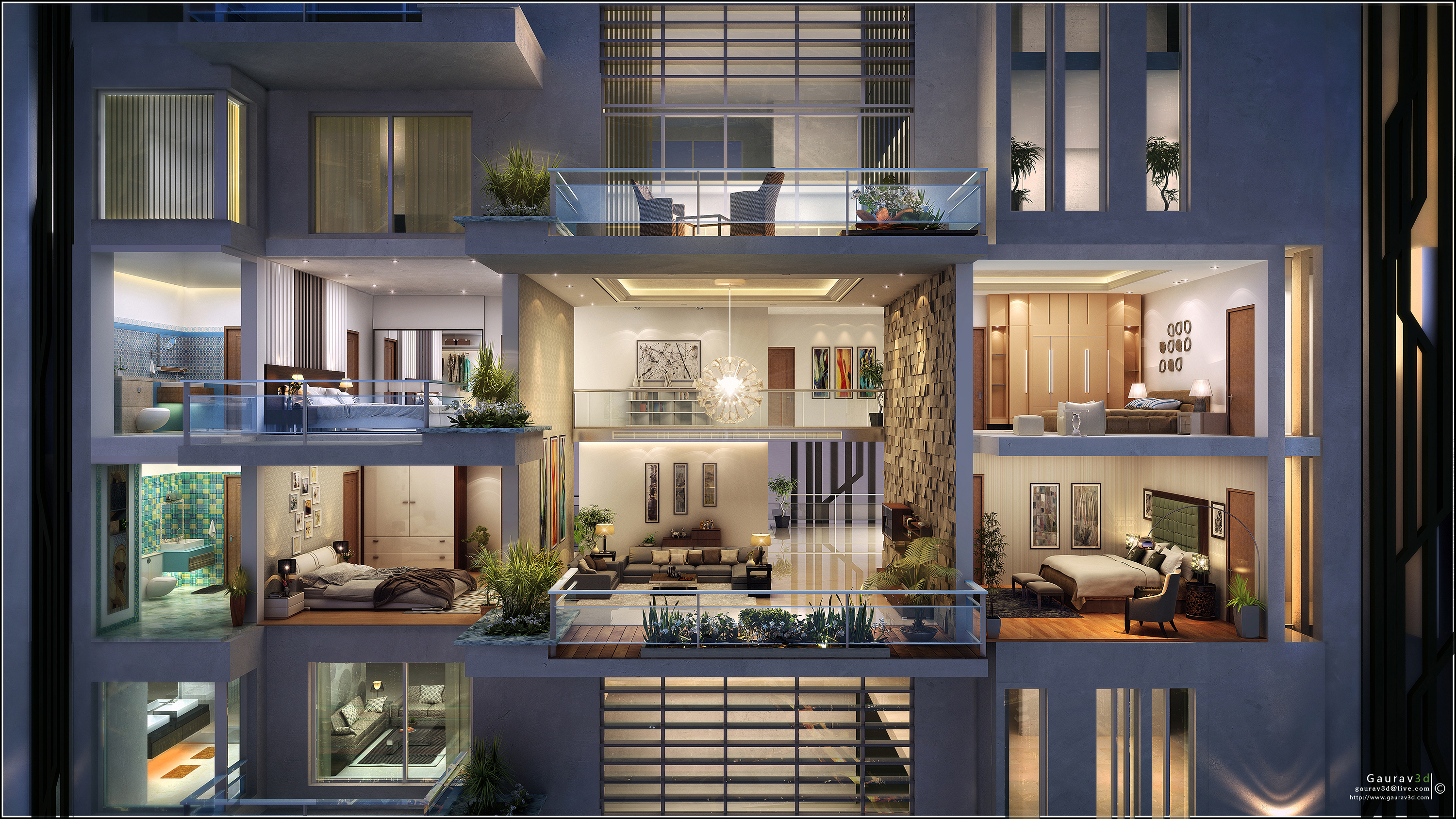 Cross Section by Gaurav 3D Architectural Visualisation at Coroflotcom
