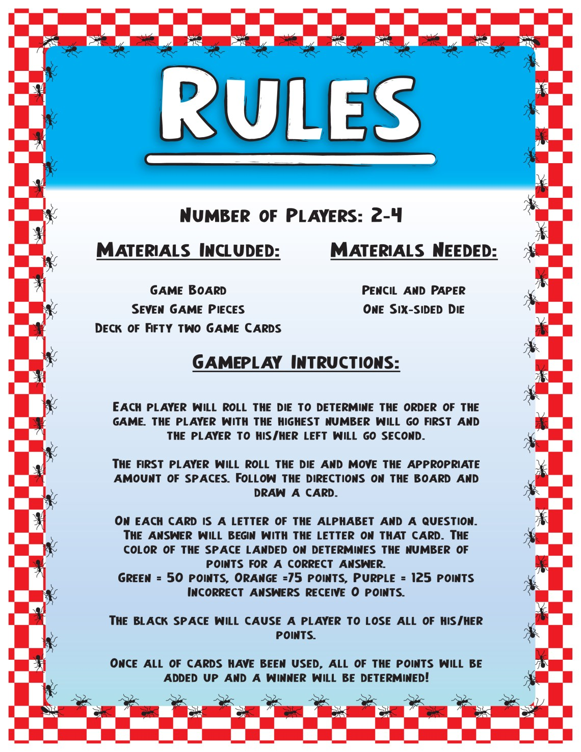 Board Game Rules Template Asian Food Near Me