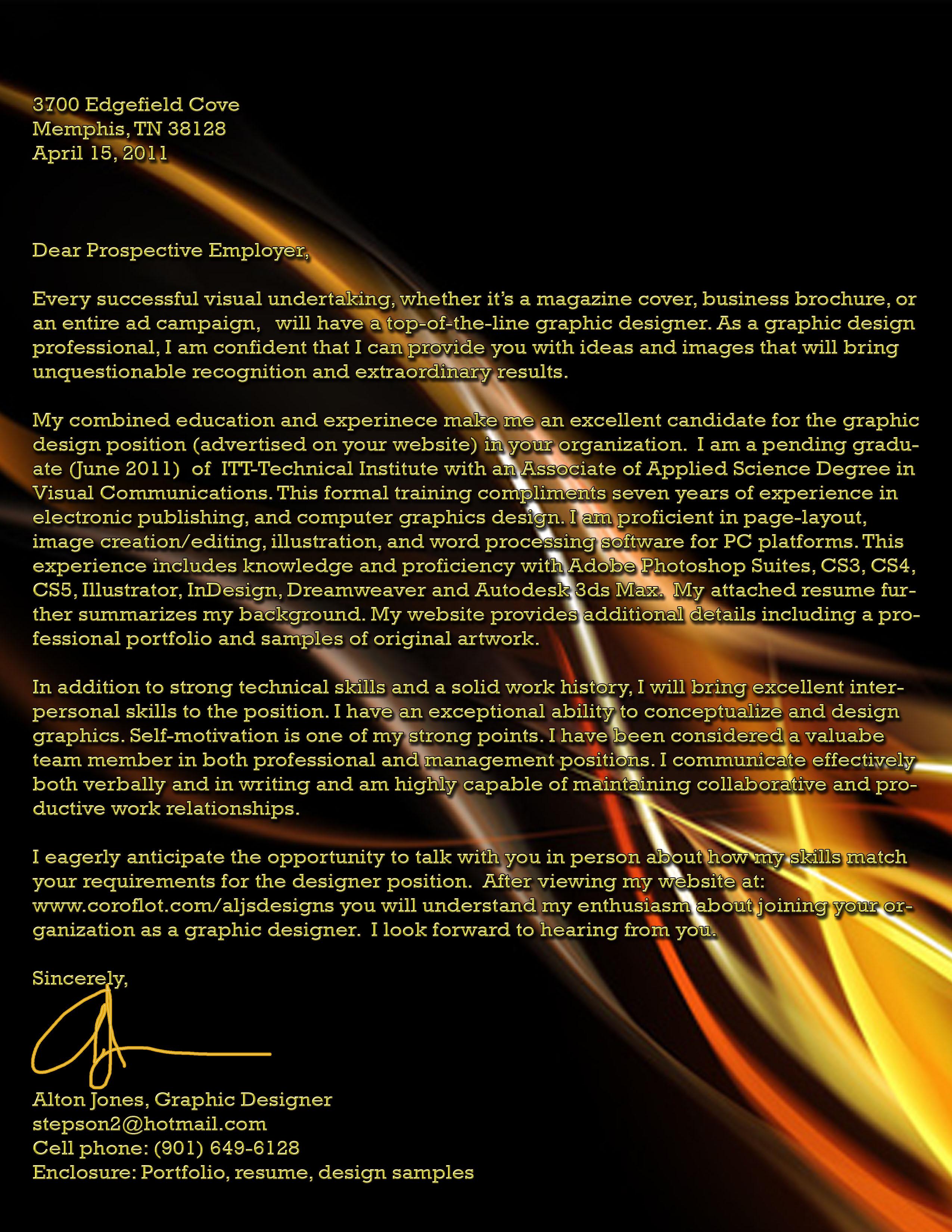 Cover Letter For Graphic Design Portfolio
