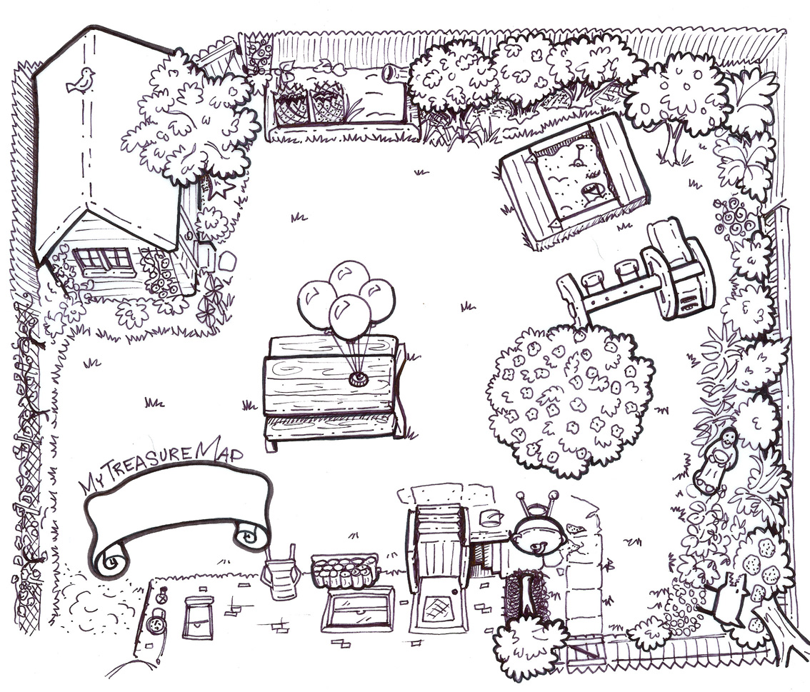 Back Yard Treasure Map Page Coloring Pages