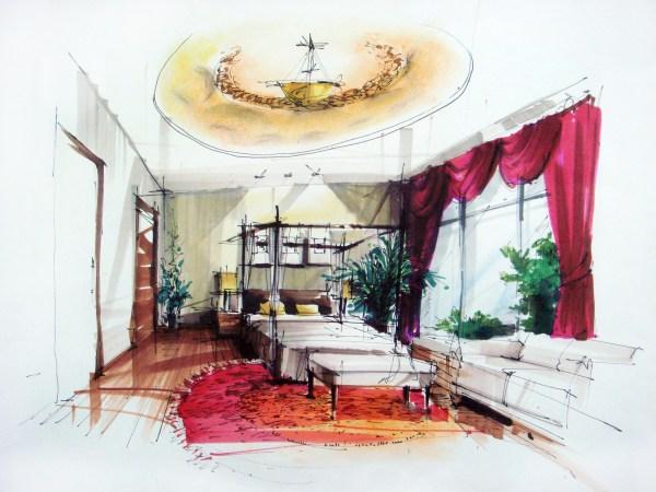 Interior Design Hand Drawings