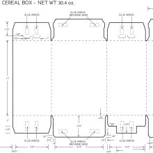 30.4oz. Cereal Box Dieline Schematic by Phil LeBloas at