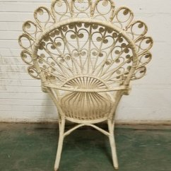 Fan Back Wicker Chair Posture Corrector For Office Rare Awesome White Peacock Furniture Home In Naperville