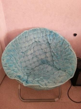 teal faux fur saucer chair wood seat replacement parts comfortable 50 off retail price like new