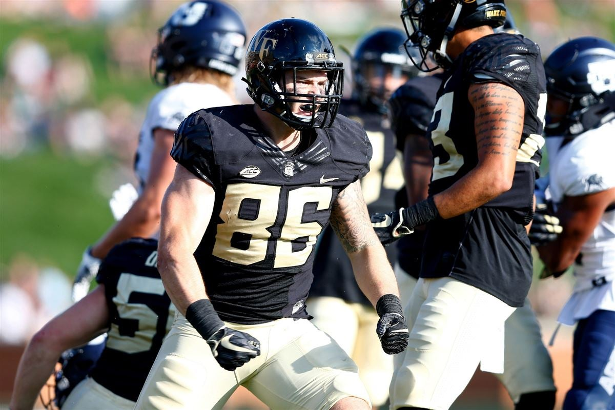 Wake forest demon deacons tight end jack freudenthal reacts after  tackle in the third quarter against utah state aggies at bb   field also football top fall camp position battles rh sports