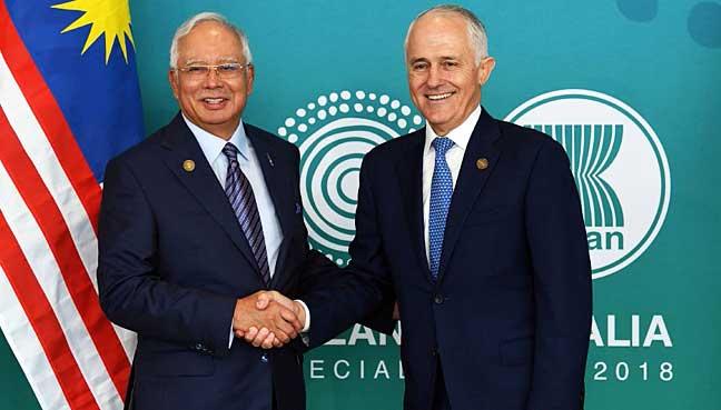 Image result for Najib Razak with Malcom Turnbull
