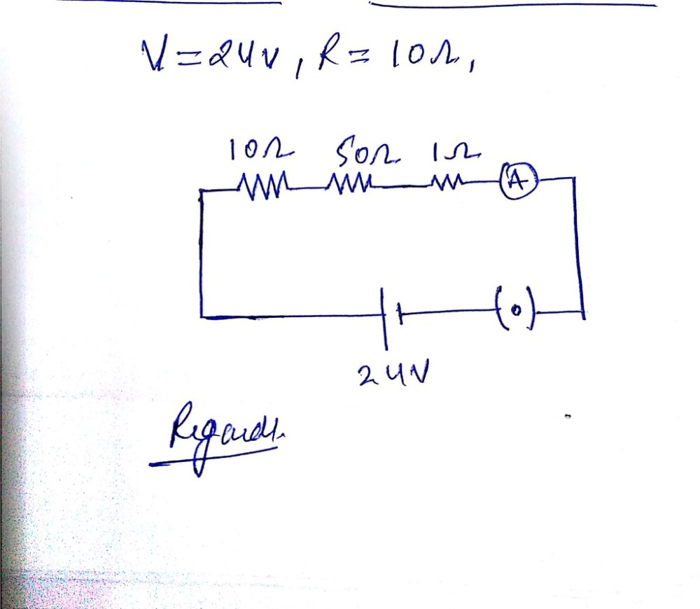 medium resolution of draw a schematic diagram of a circuit consisting of a 24v battery a10 ohm resistor a50 ohm resistor 10 ohm resistor an ammeter and a plug key all connected