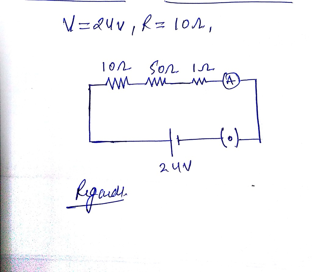 hight resolution of draw a schematic diagram of a circuit consisting of a 24v battery a10 ohm resistor a50 ohm resistor 10 ohm resistor an ammeter and a plug key all connected