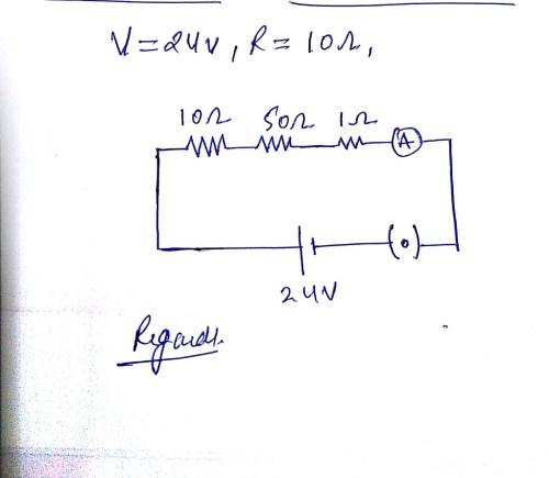 small resolution of draw a schematic diagram of a circuit consisting of a 24v battery a10 ohm resistor a50 ohm resistor 10 ohm resistor an ammeter and a plug key all connected