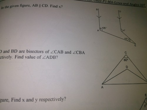 small resolution of if ad and bd are bisected of angle cab and angle cba respectively find the value of angle adb