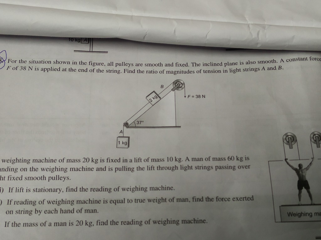 Problems Based On Inclined Plane Along Pulley