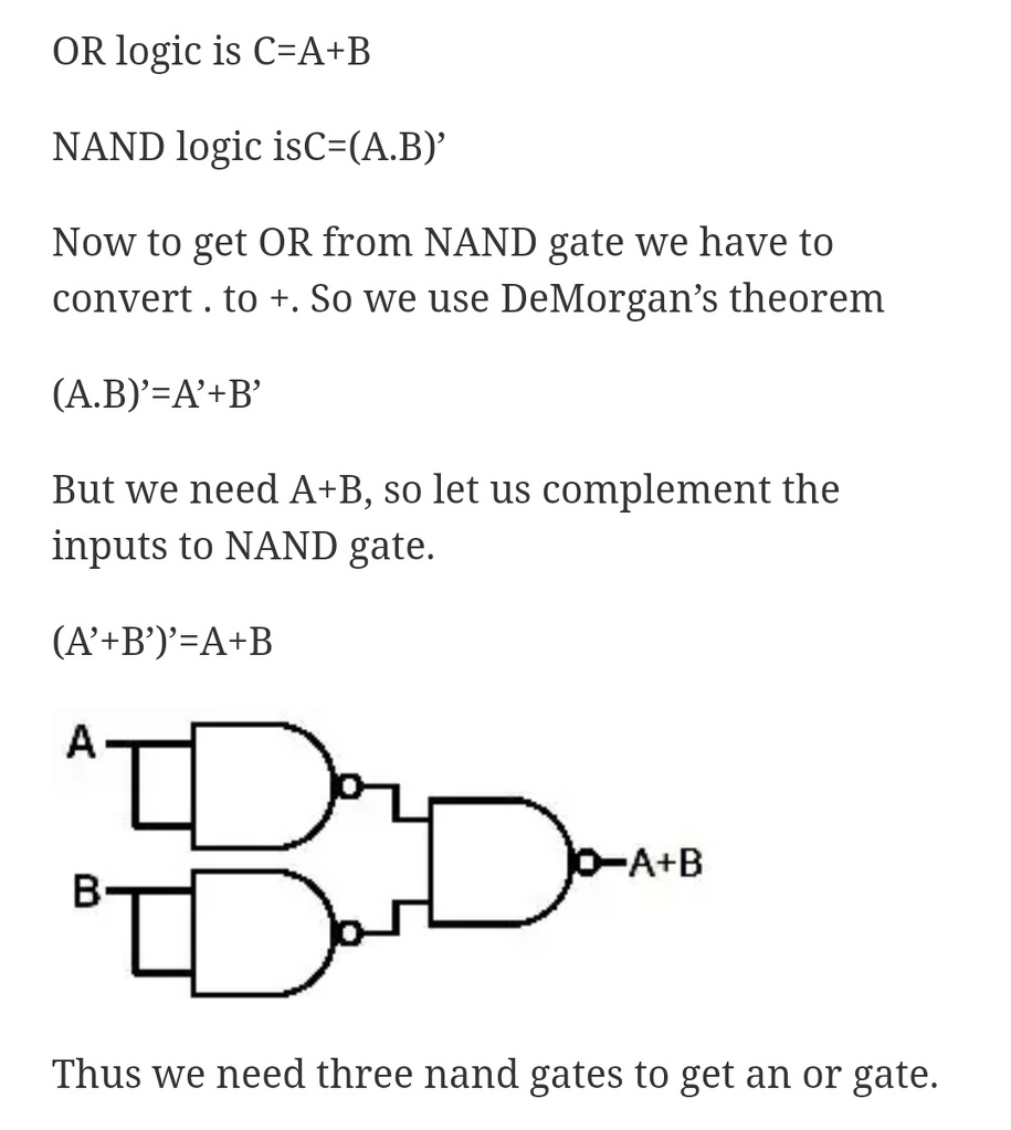 medium resolution of minimum number of nand gates required to make nor gate is pls explain with diagram