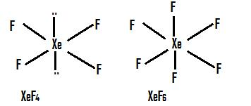 Draw structure of following compound XeF4, XeF6,XeO3,XeOF2