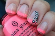 neon french tips with polka dots