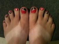 hot pink & black diagonal french toes - Nail Art Gallery