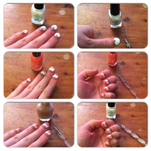 Then Using White Polish Create Two Domes Shaped Like The Top Of A Heart