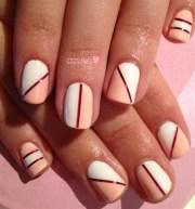 pink & white two tone nail
