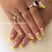 neon french nails - nail art