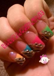 colorful -zebra stripes - nail