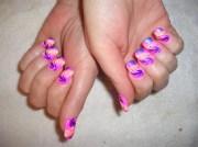 pink abstract airbrush - nail art