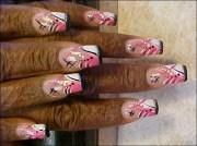pink black and white - nail art
