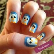 penguin nails - nail art