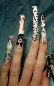 dog breed nail art. left hand