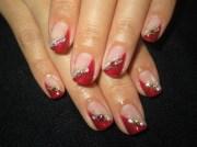 red diagonal french nails - nail