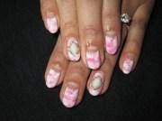 pink&white marble nails - nail
