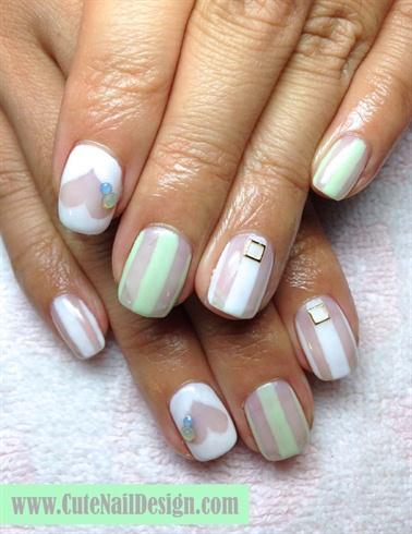 Green X White See Through Nails Nail Art Gallery