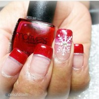 Snowflake With Red French Tips