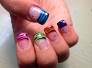 colorful tips zebra - nail art