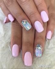 baby pink holo nails - nail art