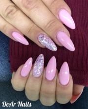 long pink almond nails - nail art