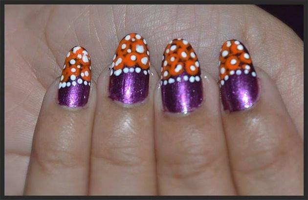 Orange Flowers on Purple Nails  Nail Art Gallery