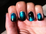 teal and black ombre - nail art