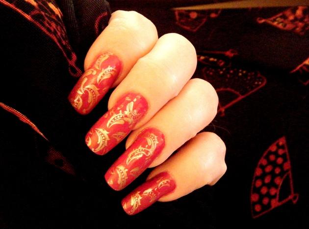 Dark Red Gold Details Nail Design
