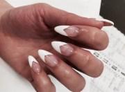 almond deep french - nail art