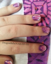 mauve fabric nail design