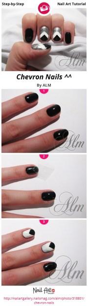 chevron nails - nail art