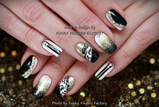 Gelish Black White Gold Nails Swarovski