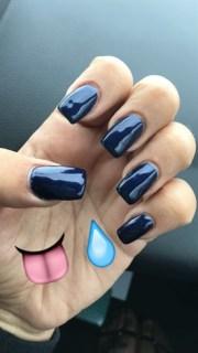 navy blue acrylic nails - nail