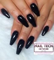 black glitter acrylic nails - nail