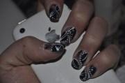 ski teal drop hand painted nail
