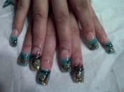 teal and gold - nail art