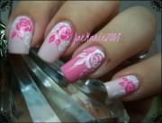 white & pink roses nail design
